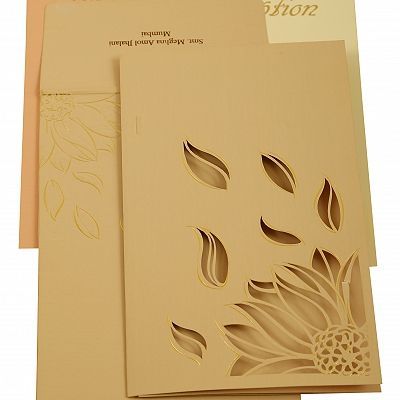 Peach Matte Laser Cut Wedding Invitation : CC-1907 - IndianWeddingCards