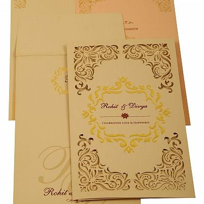 Peach Matte Laser Cut Wedding Invitation : CD-1909 - IndianWeddingCards