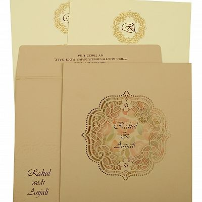 Peach Matte Laser Cut Wedding Invitation : CIN-1857 - IndianWeddingCards
