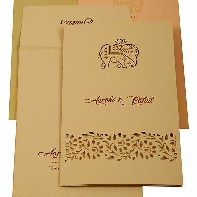 Peach Matte Laser Cut Wedding Invitation : CS-1923 - IndianWeddingCards