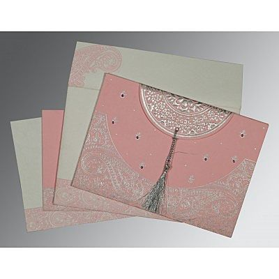 Pink Handmade Cotton Embossed Wedding Card : CC-8234G - IndianWeddingCards