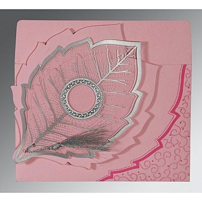 Pink Handmade Cotton Floral Themed - Foil Stamped Wedding Card : CIN-8219K - IndianWeddingCards