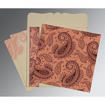 Pink Matte Paisley Themed - Screen Printed Wedding Card : CW-8250F - IndianWeddingCards