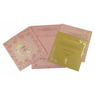 Pink Shimmery Floral Themed - Foil Stamped Wedding Invitation : CS-1787 - IndianWeddingCards