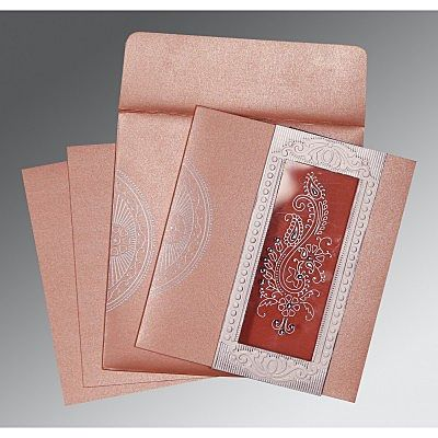 Pink Shimmery Paisley Themed - Foil Stamped Wedding Invitation : CRU-8230A - IndianWeddingCards