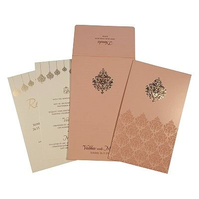 Pink Shimmery Paisley Themed - Screen Printed Wedding Card : CI-1746 - IndianWeddingCards