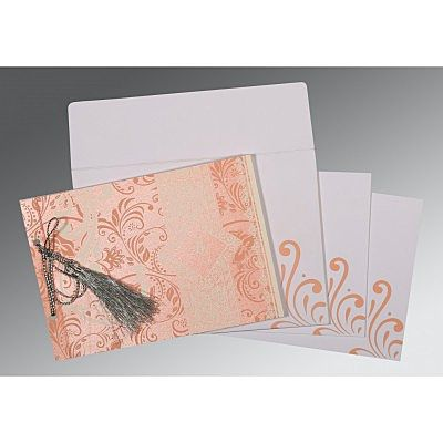 Pink Shimmery Screen Printed Wedding Card : CW-8223E - IndianWeddingCards