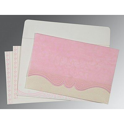 Pink Wooly Embossed Wedding Invitation : CW-8221M - IndianWeddingCards