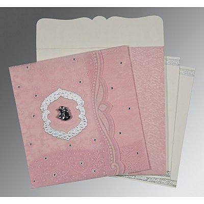 Pink Wooly Floral Themed - Embossed Wedding Card : CC-8209H - IndianWeddingCards