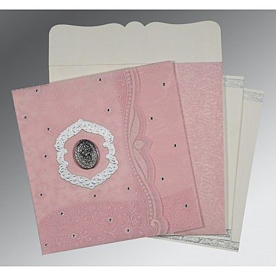 Pink Wooly Floral Themed - Embossed Wedding Card : CI-8209H - IndianWeddingCards