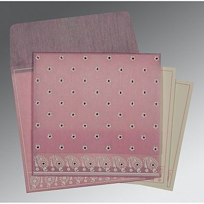 Pink Wooly Floral Themed - Screen Printed Wedding Card : CW-8218J - IndianWeddingCards