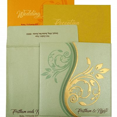 Pista Green Shimmery Floral Themed - Embossed Wedding Invitation : CC-1901 - IndianWeddingCards