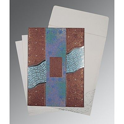 Purple Handmade Shimmer Foil Stamped Wedding Card : CD-1375 - IndianWeddingCards