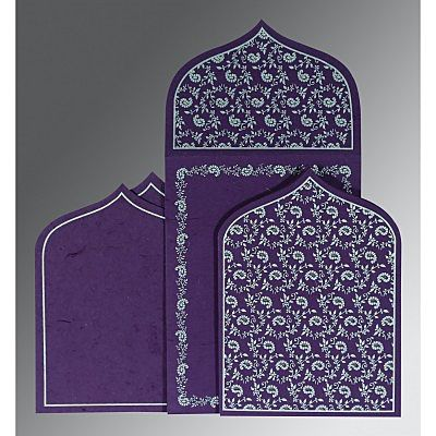 Purple Handmade Silk Paisley Themed - Glitter Wedding Invitation : CD-8208D - IndianWeddingCards