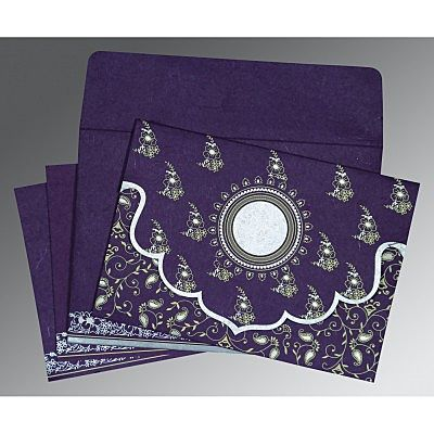 Purple Handmade Silk Screen Printed Wedding Invitation : CD-8207G - IndianWeddingCards