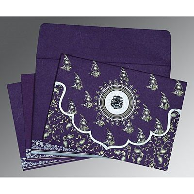 Purple Handmade Silk Screen Printed Wedding Invitation : CW-8207G - IndianWeddingCards