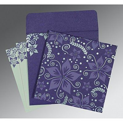 Purple Matte Floral Themed - Screen Printed Wedding Invitation : CSO-8240B - IndianWeddingCards