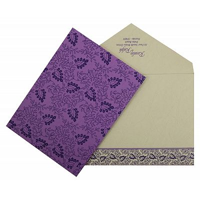 Purple Matte Paisley Themed - Screen Printed Wedding Invitation : CSO-811D - IndianWeddingCards
