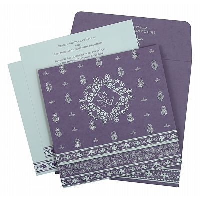 Purple Matte Screen Printed Wedding Invitation : CI-808E - IndianWeddingCards