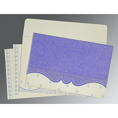 Purple Wooly Embossed Wedding Invitation : CI-8221E - IndianWeddingCards