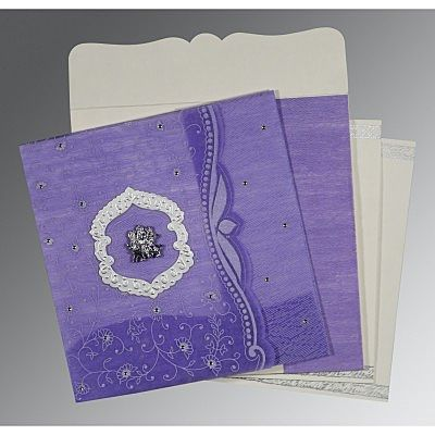 Purple Wooly Floral Themed - Embossed Wedding Card : CG-8209C - IndianWeddingCards