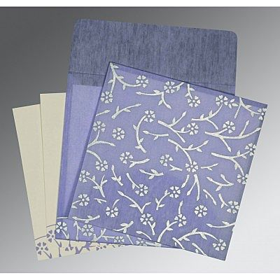 Purple Wooly Floral Themed - Screen Printed Wedding Invitation : CD-8216Q - IndianWeddingCards