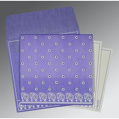 Purple Wooly Floral Themed - Screen Printed Wedding Card : CW-8218H - IndianWeddingCards