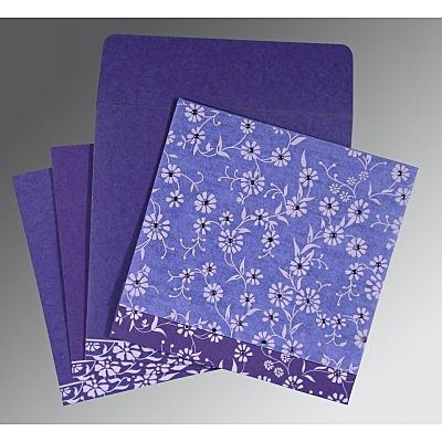 Purple Wooly Floral Themed - Screen Printed Wedding Card : CW-8222O - IndianWeddingCards