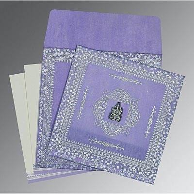 Purple Wooly Glitter Wedding Card : CIN-8205F