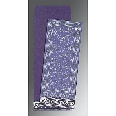 Purple Wooly Screen Printed Wedding Invitation : CI-8220P - IndianWeddingCards