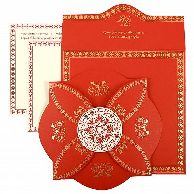 Red Butterfly Themed - Screen Printed Wedding Invitation : CSO-820B - IndianWeddingCards