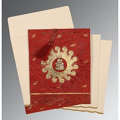 Red Handmade Cotton Embossed Wedding Invitation : CG-1264 - IndianWeddingCards