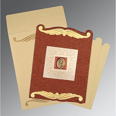 Red Handmade Cotton Embossed Wedding Card : CI-1412 - IndianWeddingCards