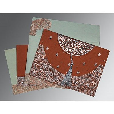 Red Handmade Cotton Embossed Wedding Card : CIN-8234F - IndianWeddingCards