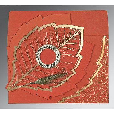 Red Handmade Cotton Floral Themed - Foil Stamped Wedding Card : CW-8219I - IndianWeddingCards