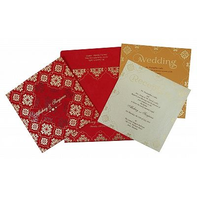 Red Matte Screen Printed Wedding Invitation : CS-1786 - IndianWeddingCards