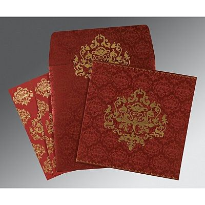 Red Shimmery Damask Themed - Screen Printed Wedding Card : CSO-8254B - IndianWeddingCards
