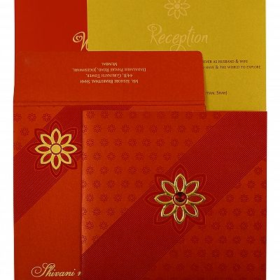 Red Shimmery Floral Themed - Foil Stamped Wedding Invitation : CW-1882 - IndianWeddingCards