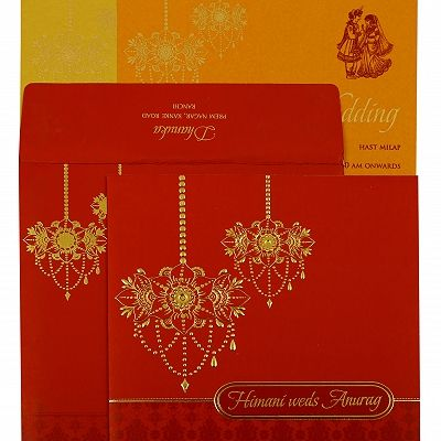 Red Shimmery Floral Themed - Screen Printed Wedding Invitation : CG-1871 - IndianWeddingCards