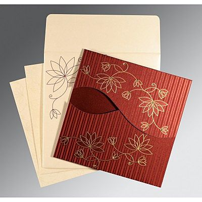 Red Shimmery Floral Themed - Screen Printed Wedding Invitation : CC-8251L - IndianWeddingCards