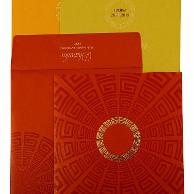 Red Shimmery Foil Stamped Wedding Invitation : CC-1888 - IndianWeddingCards