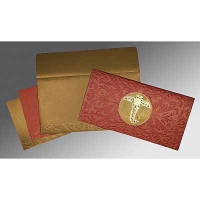 Red Shimmery Foil Stamped Wedding Card : CSO-1463 - IndianWeddingCards