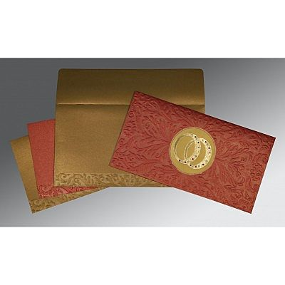 Red Shimmery Foil Stamped Wedding Card : CSO-1465 - IndianWeddingCards