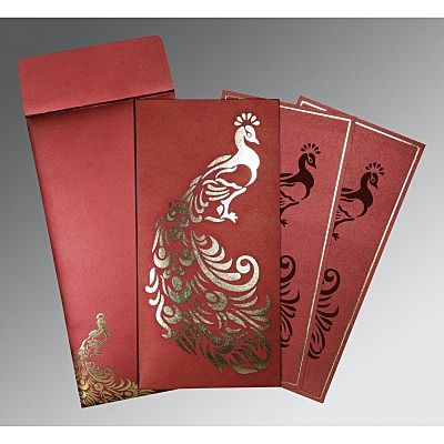 Red Shimmery Peacock Themed - Laser Cut Wedding Invitation : CIN-8255A