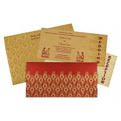 Red Shimmery Peacock Themed - Screen Printed Wedding Invitation : CIN-8256C - IndianWeddingCards