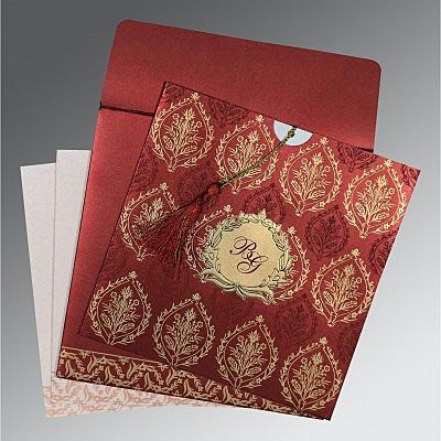 Red Shimmery Unique Themed - Foil Stamped Wedding Card : CS-8249L - IndianWeddingCards