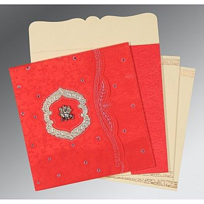 Red Wooly Floral Themed - Embossed Wedding Card : CG-8209I - IndianWeddingCards