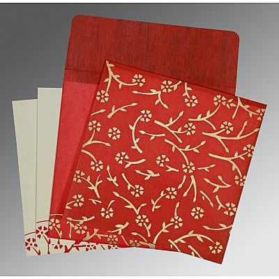 Red Wooly Floral Themed - Screen Printed Wedding Invitation : CS-8216L - IndianWeddingCards