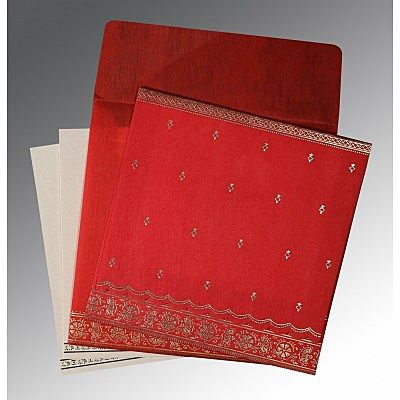 Red Wooly Foil Stamped Wedding Card : CRU-8242A - IndianWeddingCards