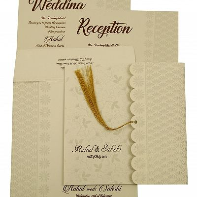 Shell Grey Shimmery Floral Themed - Embossed Wedding Invitation : CIN-1887 - IndianWeddingCards